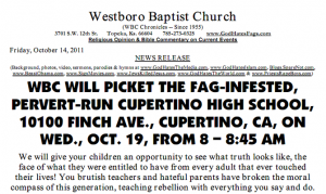 Westboro Baptist Church to picket in Cupertino