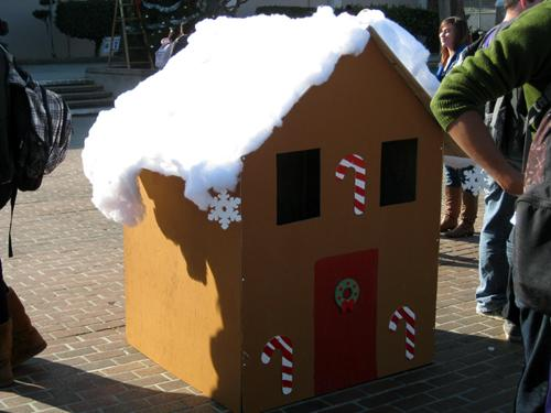 wooden gingerbread house
