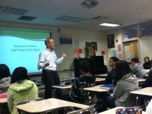 Environmental engineer speaks to math classes