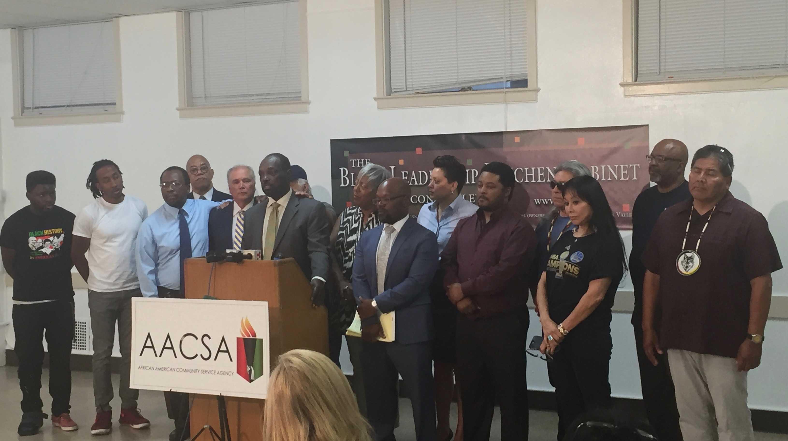 African American leaders hold press conference about racially charged incidents at MVHS