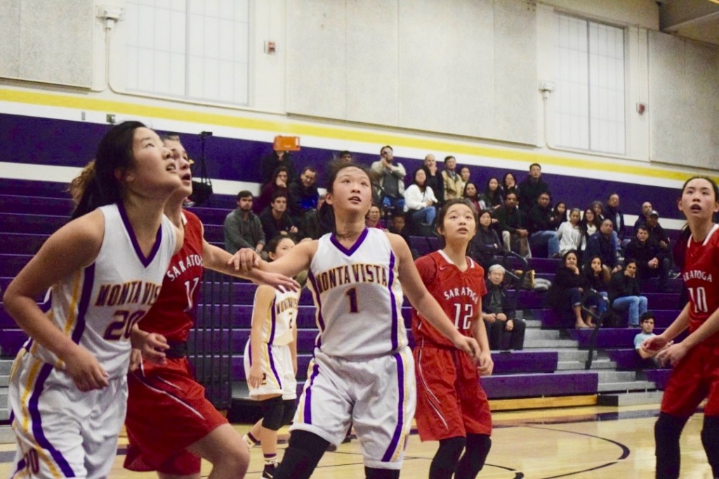 Joyce+Chen+and+junior+Jessica+Ji+looking+to+get+a+rebound.+Offensive+rebounds+were+big+for+most+of+the+Matadors%E2%80%99+points.+Photo+by+Anish+Vasudevan.