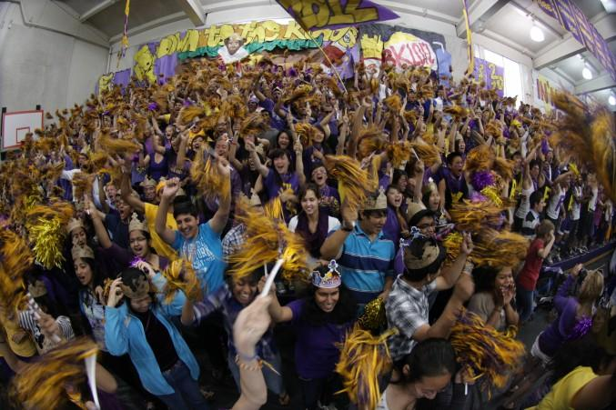 The class of 2012 cheers at this years welcome back rally. The seniors won this rally. Photo by Kevin Tsukii.