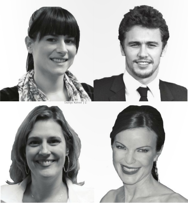 English teacher Jessica Kaufman (top left) met actor James Franco (top right) at UCLA. English teacher Terry Anderson (bottom left) was in the middle of the paparazzi with actress Marcia Cross (bottom right). Photo illustrations (top and bottom left) by Soumya Kurnool. James Franco picture courtesy of David Shankbone. Marcia Cross picture courtesy of Flickr user Kirk S.