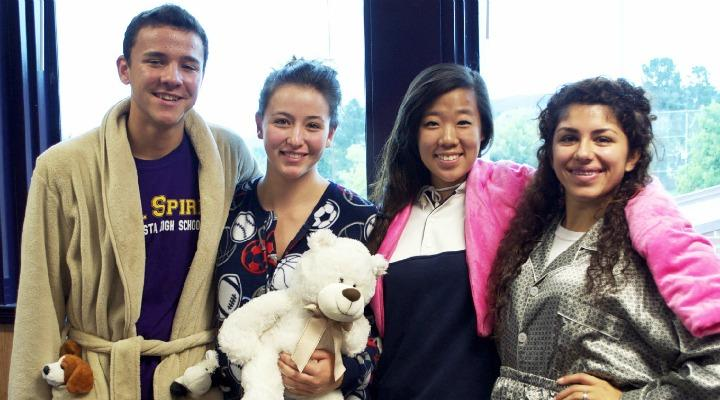 Junior Tijani Karaborni, junior Lyan Cogan, senior yehrin Park, and junior Sherry Roohi make up the Bull Spirit Commission of Leadership and take charge of dress up days. They showcase their roll out of bed attire on Oct. 11. Photo by Karishma Mehrotra.