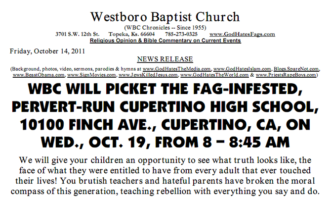 This press release, erroneously dated Friday, Oct. 14, was posted onto the church's website on Thursday. Photo courtesy of the Westboro Baptist Church.
