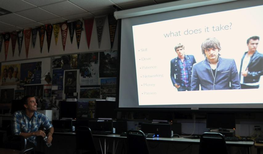 ARTTEC Inc. came with the intention to talk to MVHS about the ARTTEC program. ARTTEC is a program that allows high school students to have hands-on experience with lighting, music recording, and film production for a fee of $25 a year. Photo by Stephanie Chang.