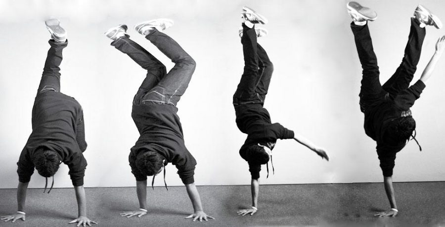 Dancing since six, Savale demonstrates a pike. Pikes, similar to freezes, require intense upper-body strength. Photo Illustration by Christophe Haubursin.