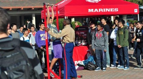 Sophomore Takuto Doshiro takes part in the annual pull-up challenge at lunch on Dec. 8 hosted by the Marine Corps for publicity purposes. Several students crowded around in the Rally Court to watch friends earn prizes for participating in the event. Photo by Kevin Tsukii.
