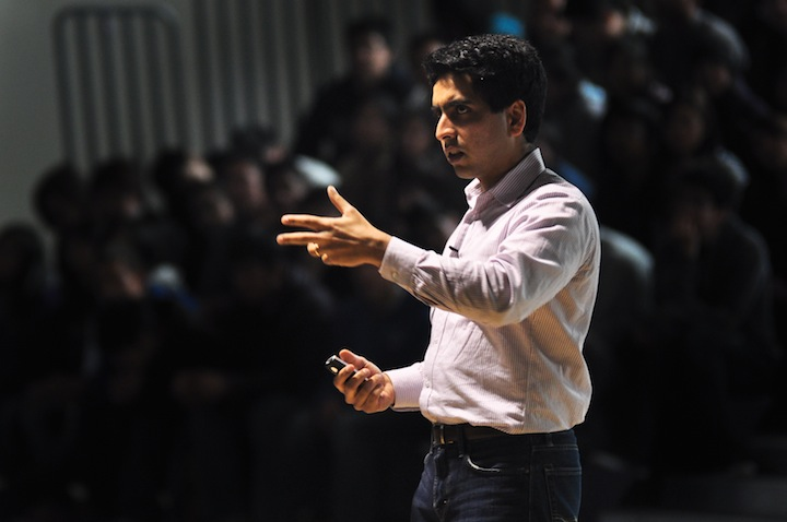 Khan Academy founder Salman Khan speaks at a school assembly on Jan. 6 about the process of creating the videos for the website, as well as his struggles and eventual success in doing so. Later that day, Khan spoke with teachers and administration regarding the current education system. Photo by Elvin Wong.
