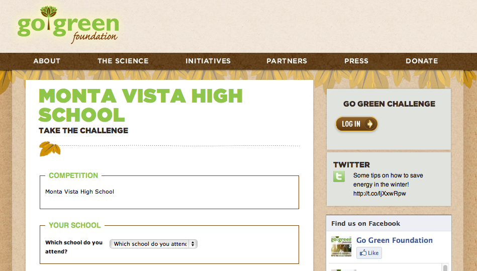 Go Green Foundation created a sign-up website for MVHS students to make their pledge for the Spare Our Earth program. Screenshot from the Go Green Foundation's website.