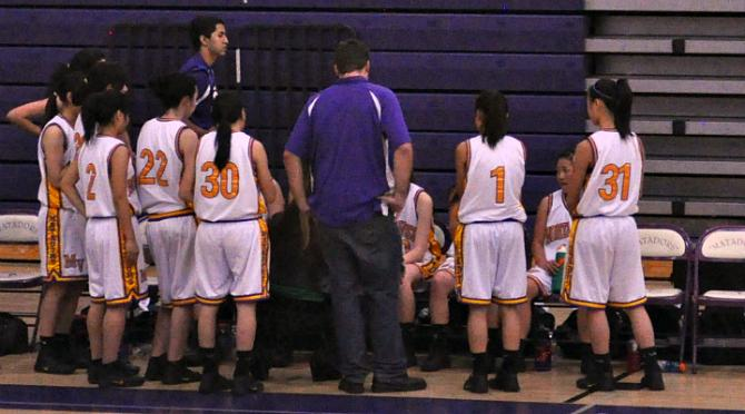 During+a+time+out%2C+the+lady+Matadors+huddle+while+coach+Sarah+Borelli+tells+them+the+game+plan.