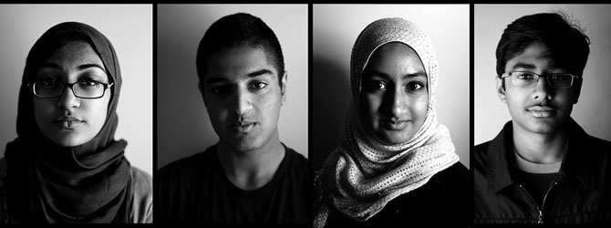 Junior Ismat Junaid, senior Arif Hasan, junior Dania Khurshid, sophomore Zuhayeer Musa: Though all from Islamic backgrounds, these four students, with religious identifications ranging from agnostic to sermon-giver, have practiced the religion to varying degrees at one time or another. Photo illustration by Christophe Haubursin.