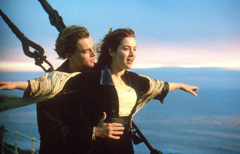 Rose DeWitt (Kate Winslet) and Jack Dawson (Leonardo Dicaprio) show their trust for one another by balancing high on the side railing of the Titanic. Photo taken from Paramount Pictures.