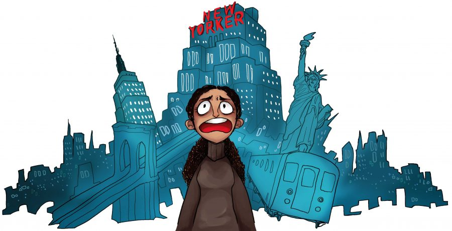 My facial expression tells all. Four days in New York have taught me that New York is no city for old women. Illustration by Angela Liu.