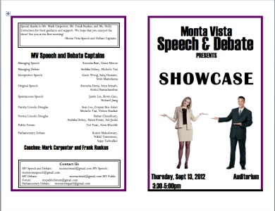 Speech and Debate annual showcase to be held Sept. 13