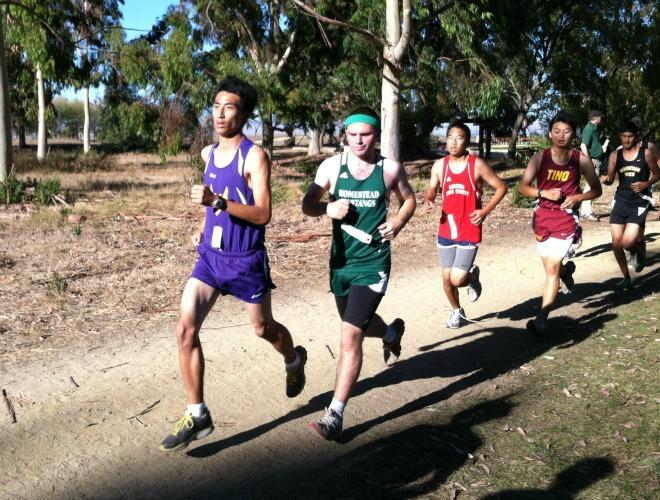 Nicholas Chen runs in Baylands Park