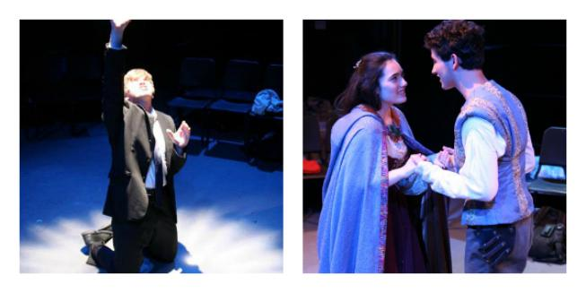 "Hamlet, played by junior Michael Goldman, attempts to converse with the ghost of his father (left), and Romeo, played by junior Rafael Ruiz, and Juliet, played by senior Kaz Tarshis, meet in secret (right). ""Romeo and Juliet"" opens on Oct. 25 and ""Hamlet"" opens on Oct. 26 in the black box (F104)."