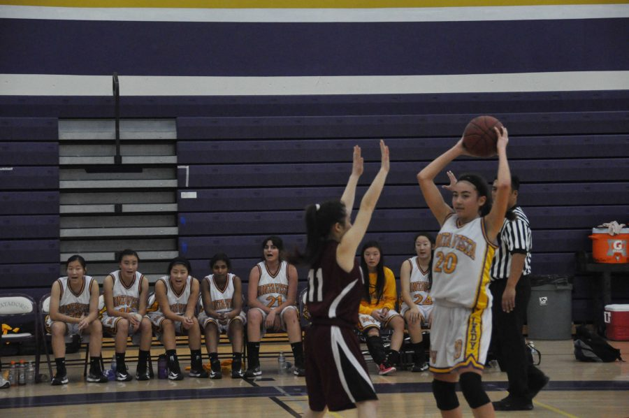 Sophmore+guard+Christina+Jennings+looks+to+pass+at+the+bottom+of+the+second+inning+when+the+Lady+Mats+were+ahead+of+the+Spartans+by+three+points.+Source%3A+Margaret+Lin