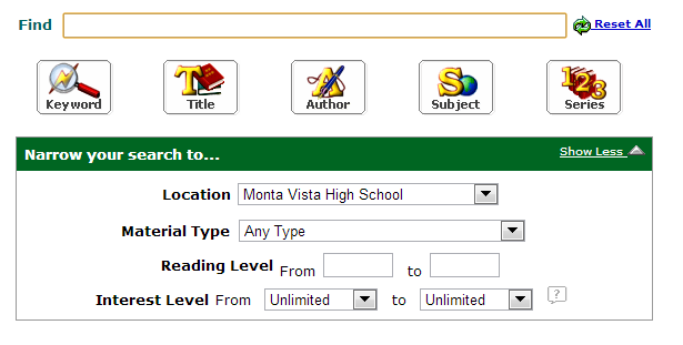 Library eBooks can be checked out through Follett Shelf, and can then be read on most devices. Screenshot from Destiny