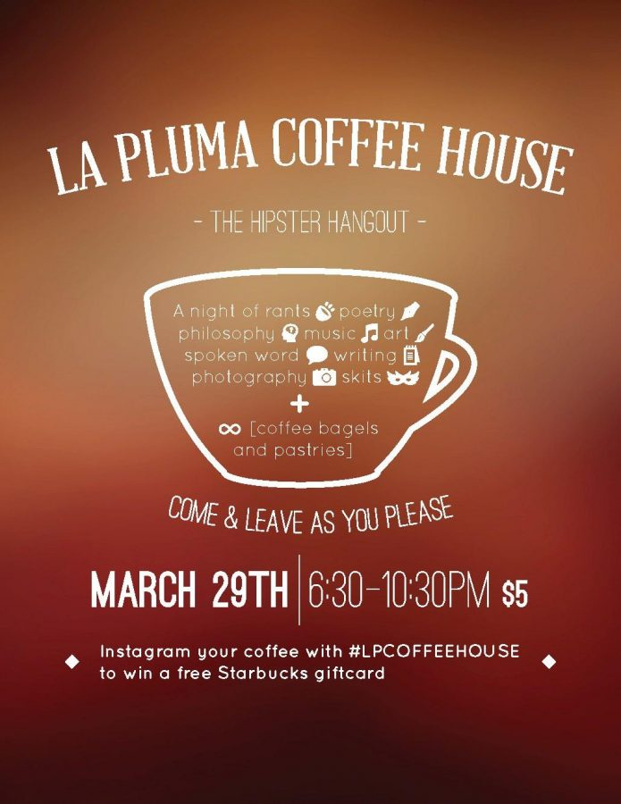 La Pluma's second annual coffee house features new performances, including poetry readings, comedy acts and rants by MVHS students. The event is a fundraiser for the publication's upcoming magazine. Photo used with permission of Libby Kao.