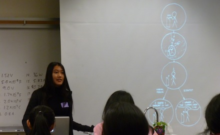 Stanford University graduate student Shengya Cao speaks at the Future Practicing Physicians Network meeting on April 8. Cao was one of four guest speakers who presented on the research being conducted at the Straight Lab at Stanford University. Photo by Amrutha Dorai.