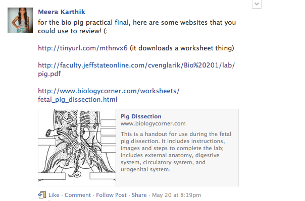 Sophomore+Meera+Karthik+provides+helpful+links+to+review+before+a+biology+assessment.+Students+used+class+Facebook+groups+to+share+resources+with+and+ask+questions+to+their+peers.+Screenshot+by+Alina+Abidi.