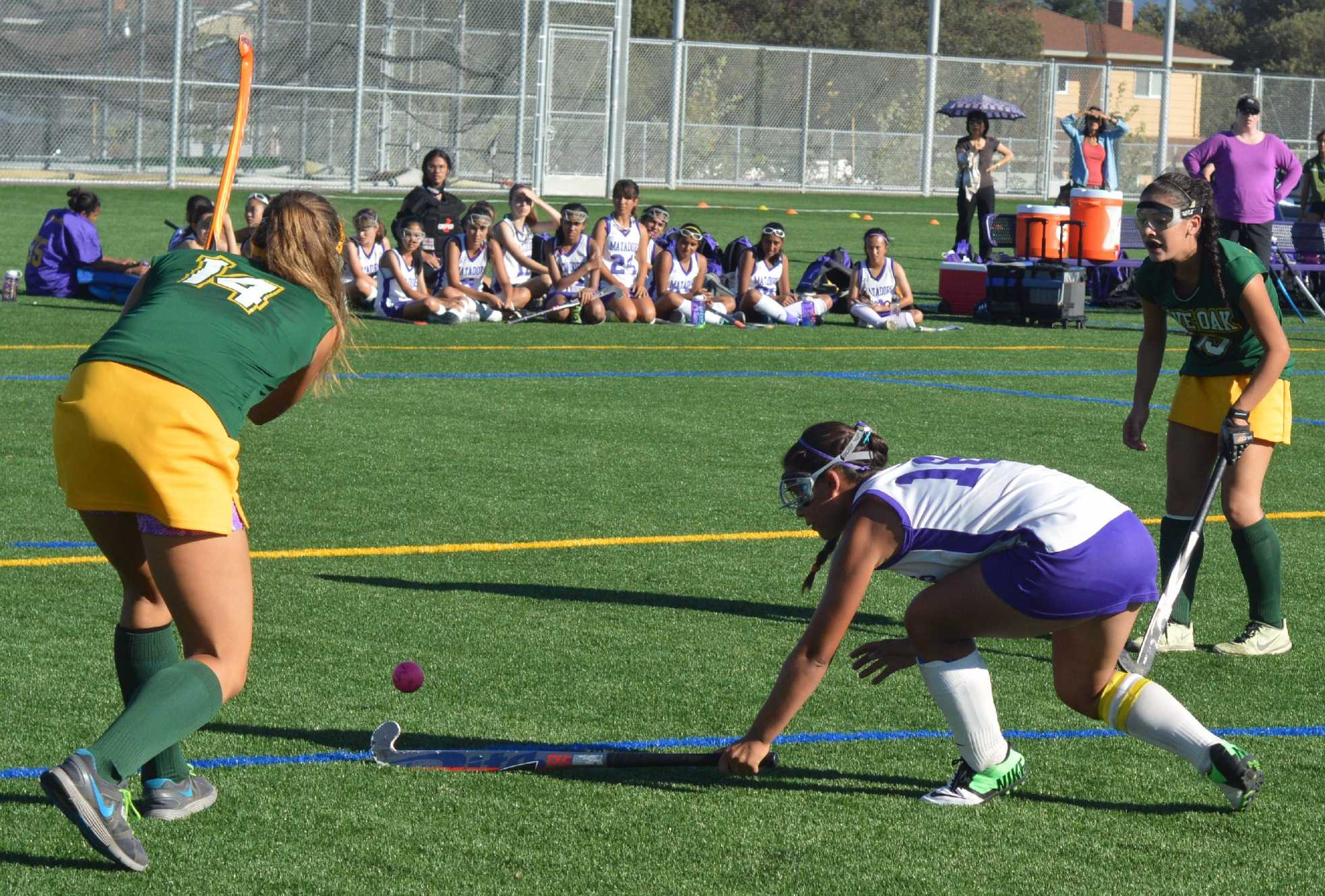 Junior co-captain Janaye Sakkas lunges for the ball in a game against Live Oak High School on Sept. 18. Sakkas scored one goal in the game; the Lady Mats tied 3-3. Photo by Ashish Samaddar.