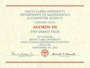 Sophomore Andrew He wins grand prize at Santa Clara University High School Mathematics Competition