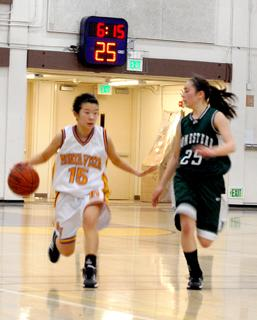 Girls varsity basketball wins first league game