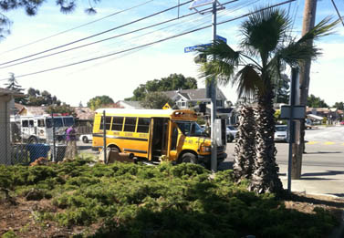 Bus crash in student parking lot, driver dead