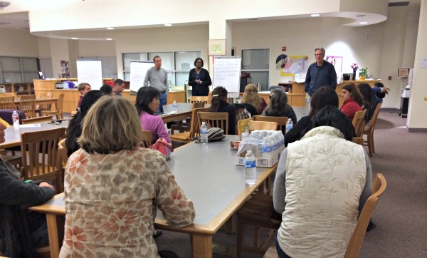 Parents and administrators come together at the Challenge Success meeting to discuss stress at MVHS. Although only 17 parents attended, the PTSA hopes to reach more community members with a campus-wide survey. Photo by Karen Feng.