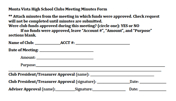 Club Commission now requires clubs to take meeting minutes and submit them with a confirmation form by 3 p.m. a week after the meeting was held. According to lead commissioner senior Zerreen Kazi, the commission is attempting to be more official in its policies and comply with state auditors' regulations. Screenshot by Karen Feng.