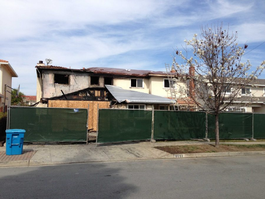 The front view of 8093 Presidio Drive. An electrical fire started around midnight on Feb. 25. Photo by Joyce Varma.