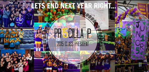 Class office candidates including junior Priscilla Phua, who was elected as senior class President, posted photos as promotion on Facebook. The results were announced today via an email sent to the student body by Assistant Principal and Leadership advisor Mike White. Used with permission of Priscilla Phua.