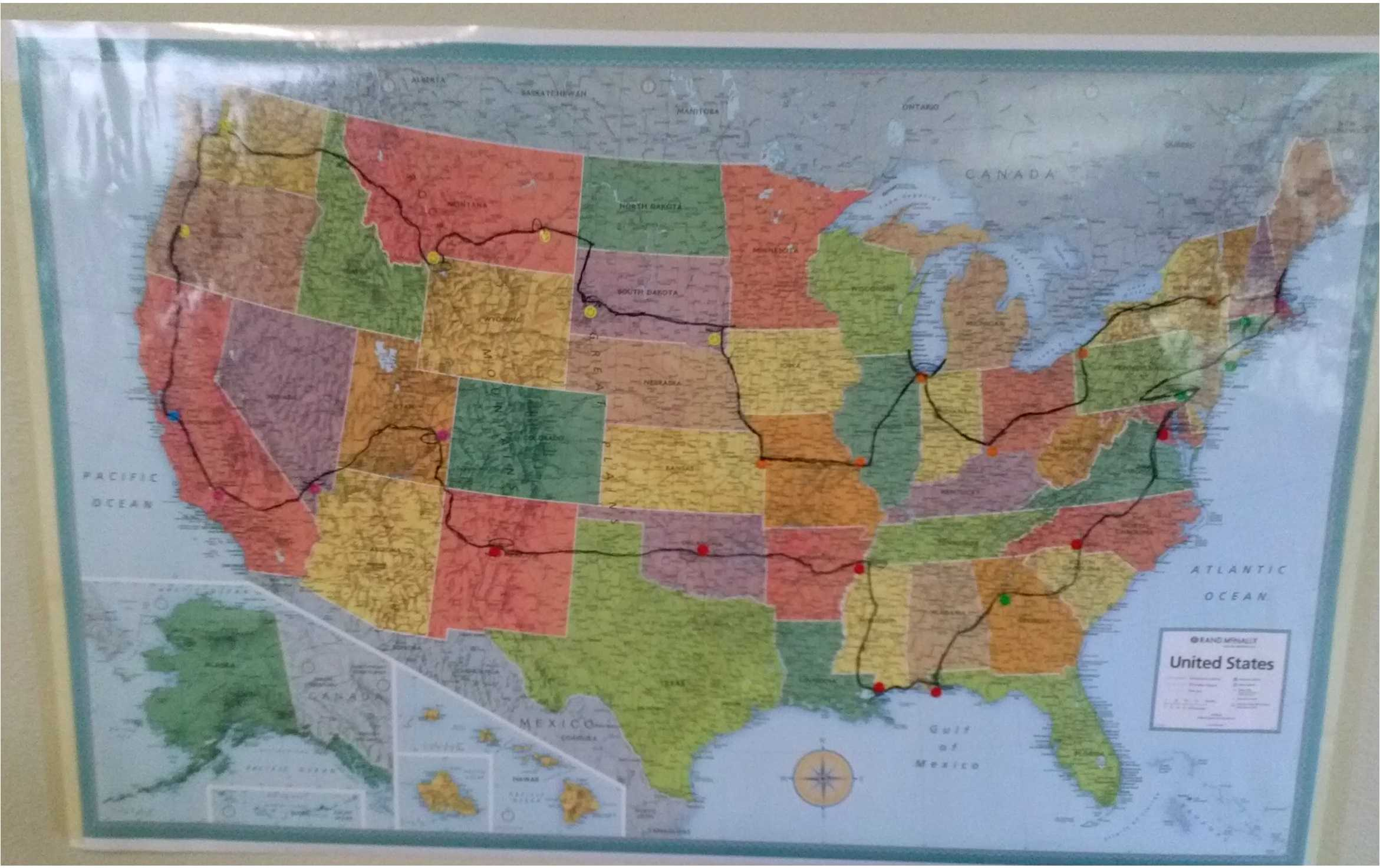 Kim's route around the United States. The black path traces their path. With permission from Joe Kim.