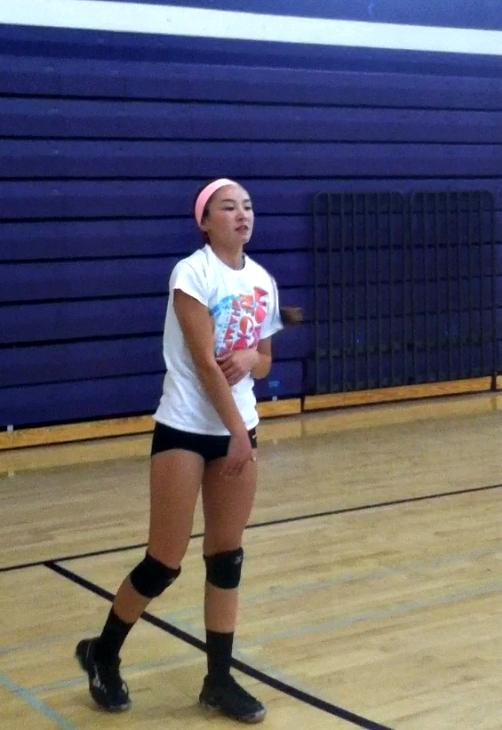 Junior Sydney Howard practices her serves in preparation for the upcoming season.