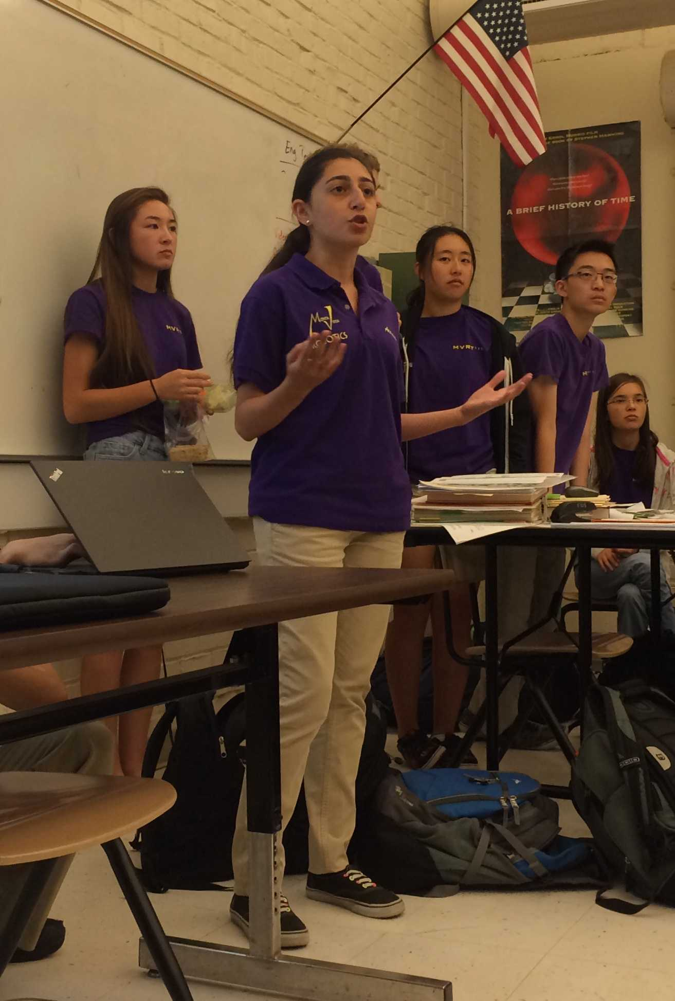 MVHS Robotics president senior Archana Kikla begins a presentation at the Robotics interest meeting at lunch on Sept. 18 in room F108. Kikla presented the team's logistical framework as well as its mission and competitions. Photo by Pranav Parthasarathy.