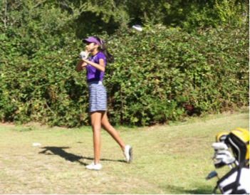 Sophomore Shriya Perati tees off on her ninth hole at Deep Cliff Golf Course on Sept. 11. Perati is playing as the first and second player for the first time, when she played as the fifth and sixth last season. Photo by Jyotsna Natarajan.