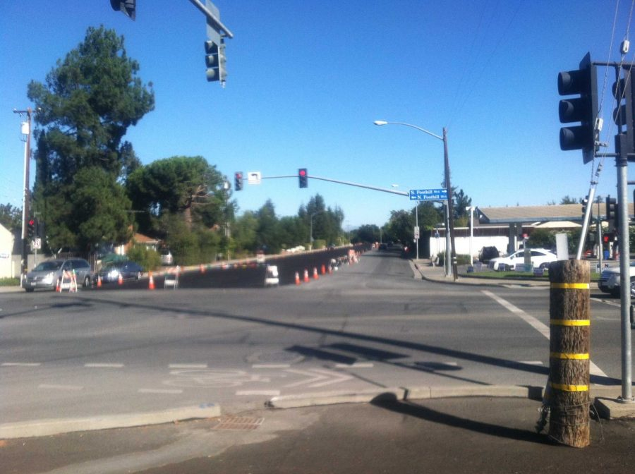 A significant portion of Foothill Road is currently coned off due to Cupertino's road maintenance project. Since last week, Cupertino has been afflicted with traffic and gridlocks due to of ongoing construction. Photo by Jady Wei.