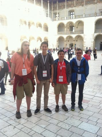 Mullen with the other three members of Team U.S.A. The team bonded by spending time together sight seeing in Krakow, Poland. Picture used with permission of James Mullen.
