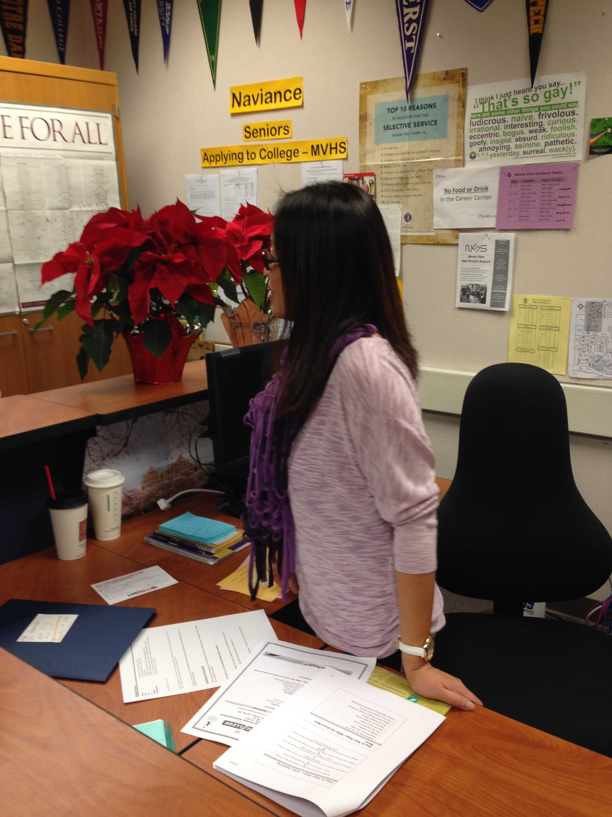 Career Center liaison, Le-Xuan Cao, answered the question of a student regarding college applications. The Career Center is the best place for attaining information apropos of colleges.