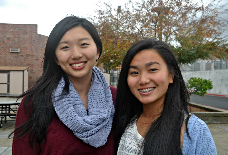 MVHS Class of 2014 alumnus Melissa Wang (left), and her younger sister sophomore Kristina Wang (right). Photo by Mingjie Zhong.