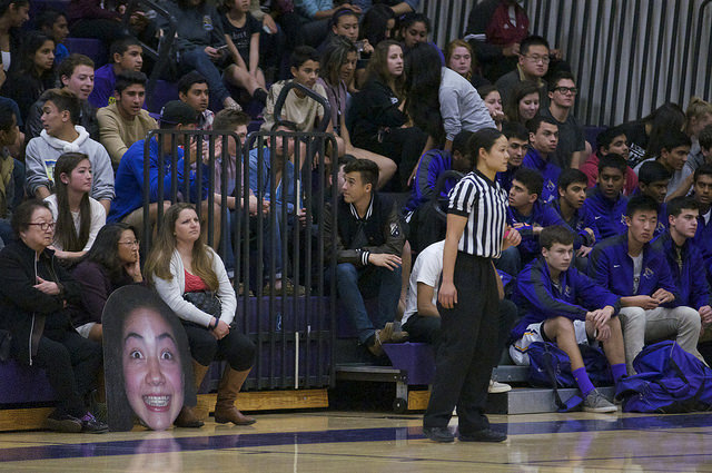 The supportive bleachers were packed with the boys basketball team, a giant cut out of senior Christina Jennings and other familiar faces on Feb. 20. MVHS lost 48-46 to Cupertino HS at the Matadors' Senior Night game.