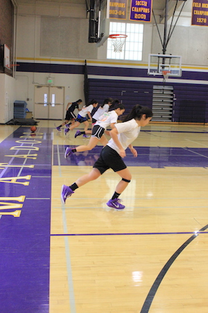 The girls basketball team does a few drills during its after-school practice on Jan. 27. The team bonds not only during practice but also through sleepovers, team breakfasts and dinners. Photo by Justin Kim.