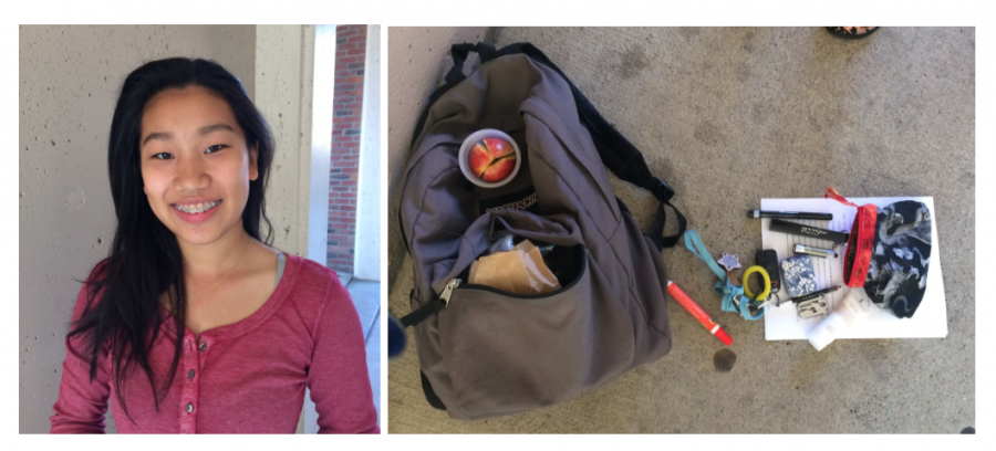 Senior Vivian Lees backpack carries a sewing kit, a screwdriver, safety pins, and a Tide stick.