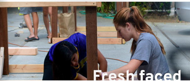 Seniors Shivangi Sharma and Maddy Marten nail a wooden structure at Quad Decs on Sept. 13. Of five senior class officers, Marten is the only one with prior Leadership experience. Photo by Anushka Tyagi.