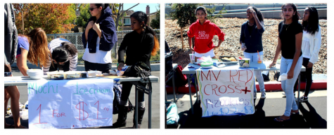 Japanese Honor Society sells ice cream mochi while Red Cross club sells pizookies at club food day on Oct. 2 during lunch. These are two of the many clubs on club food day which vowed to donate ten percent of their profits to Red Cross Refugee Fund. Photos by Kingsley Wang.