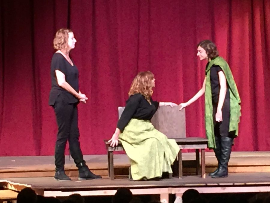Professional improv team works with drama students