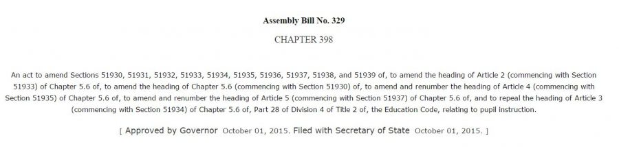 Assembly Bill No. 329 addresses the sexual education curriculum for California and makes changes that will include previously optional content into the mandatory preset topics. This was done to unify all the districts of California into one concise curriculum.