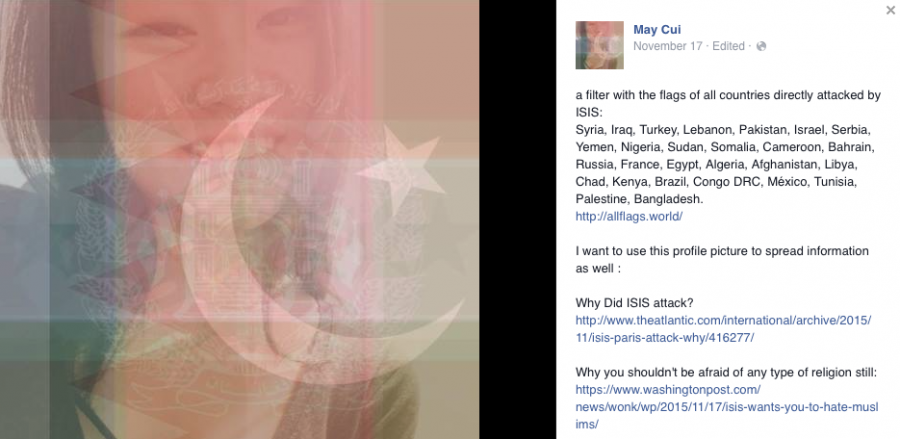 Senior May Cuis Facebook post on Nov. 17 expressed her desire for inclusive filters and for ending the marginalization of the Middle East.
